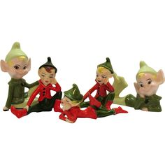 Five Vintage Ceramic Christmas Pixie Figurines 1960s Good Condition at Appletree Junction Antiques Exclusively on Ruby Lane