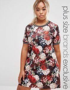 Pink+Clove+Floral+Print+Shift+Dress+With+Rib+Trim