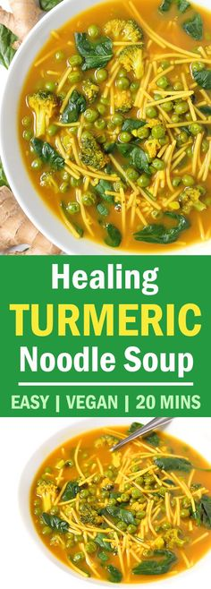 EASY 20-Minute Healing Golden Turmeric Soup with garlic, ginger, miso, and greens. So SOOTHING! We're obsessed with this recipe and it's SO versatile! #vegan #soup