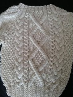 Diy Crafts - Irish Aran Wool Toddler Sweater Design A Hand Knitted Sweaters, Sweater Knitting Patterns, Baby Sweaters, Knitted Blankets, Baby Knitting, Gents Sweater, Toddler Sweater, Sweater Design, Knit Fashion