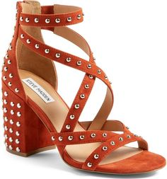 Get the must-have sandals of this season! These Steve Madden Rust Fara Studded Suede Leather Ankle Strap Sandals Size US 7 Regular (M, B) are a top 10 member favorite on Tradesy. Chunky Sandals, Studded Sandals, Ankle Strap Sandals, Chunky Heels, Embellished Sandals, Wedge Boots, Shoe Boots, Shoes Heels, Sandal Heels