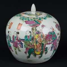 Description An ovoid Chinese jar & flush fitting circular cover, decorated in famille rose enamels with a figure of Guanyin riding a Buddhist lion & holding an infant, in procession on a fenced pathway with a group of boys carrying banners  Date 2nd half 19th century (Tongzhi Period)  www.collectorstrade.de