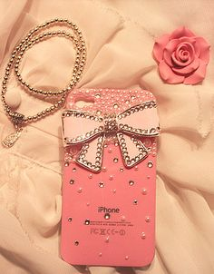 Swarovski Bling Pearl Pink Crystal Bowknot 3D iPhone 4 by milkcoco