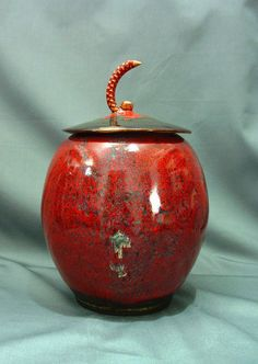Pottery Lidded Jar Red by mudbuds