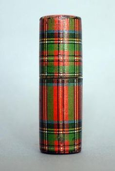 Antique Stuart Tartan Tartanware sewing needle case