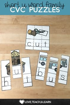 Short U Word Family CVC Puzzles are the perfect activity for literacy centers.  Great for emergent readers to build early reading skills.  Perfect for kindergarten to introduce phonics, spelling and reading and for review in 1st grade.  Fun word work activity that solidifies the letter-sound correspondence.  #CVC #shortu #phonics #emergentreaders #kindergarten Phonics Rules, Teaching Phonics, Teaching Resources, Primary Teaching, Elementary Teaching, Reading Fluency, Reading Skills, Reading Games, Reading Lessons