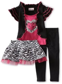 Amazon.com: Little Lass Baby-Girls Infant 3 Piece Animal Print Skirt Set: Clothing