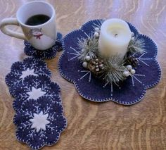 Sew Easy, Sew Quick, Sew Pretty Wool Snowflake Mug Rugs Christmas Projects, Felt Crafts, Holiday Crafts, Felt Projects, Christmas Sewing, Noel Christmas, Christmas Ornaments, Felt Coasters, Felted Wool Crafts
