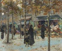 Louis Abel-Truchet, A Flower Market in Paris