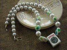 Green and White Mahjong Necklace  - Mahjong Gift - Jesse James Beads - Mah jong Jewelry by MahjongJewelry on Etsy