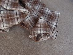 Vintage Fabric Wool Plaid Tartan Taupe Brown by QUIVERreclaimed