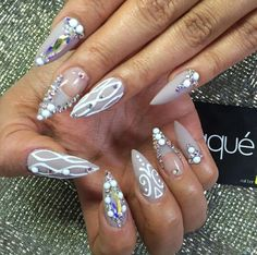 Almond shape nails with Swarovski crystals