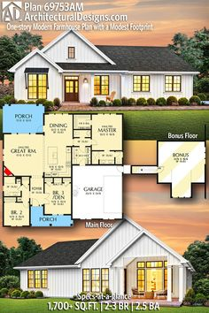 Plan One-story Modern Farmhouse Plan with a Modest Footprint Modern Farmhouse Ranch House Plan gives you square feet of living space with. Country House Plans, New House Plans, Home Design Floor Plans, Modern Farmhouse Plans, Building A House, New Homes, Square Feet, House Design, How To Plan