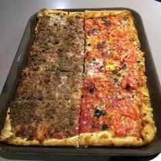 Thin crust at La Casa Pizzeria in Omaha. Hamburger and Marguerita.