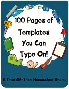 By subscribing to the Homeschool Share Blog, you will receive a 102 pg .pdf download filled w/ 100 lapbook templates that you can type on before sending the pages to your printer.  Lapbooks and foldables include tab books, envelope books, venn diagrams, matchbook foldables, petal foldables, pop-up books, pocket foldables, mini-foldables, accordion foldables, layerables, concept maps, info. fans (think Fandex), flap books, shutterfold foldables & many more. Don't worry, instructions are…