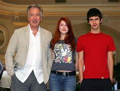 Actors Alan Rickman, Rachel Hurd-Wood and Ben Whishaw pose during a photocall for their film 'Perfume - The Story of a Murderer' in Barcelona, 29 August 2005, a film based on the bestselling book by Patrick S?skind.