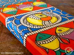 Bright beautiful colours of Madhubani painting! Madhubani Art, Madhubani Painting, Mandala Painting, Fabric Painting, Painting Canvas, Traditional Paintings, Traditional Art, Indian Folk Art, India Art