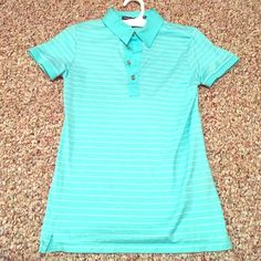 Ralph Lauren Golf Polo - Tailored Golf Fit New condition, silky soft slim fit 100% cotton. Light teal with white stripes Ralph Lauren Tops Tees - Short Sleeve