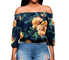 Huusa Womens Sexy Vintage Floral Print Off Shoulder Crop Top Clubwear L Navy Blue