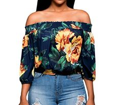 Huusa Womens Sexy Vintage Floral Print Off Shoulder Crop Top Clubwear L Navy Blue