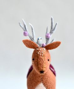 Felt deer. Oh so cute with his little friend perched on his antlers. Christmas