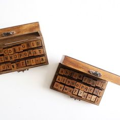 Super Cute Alphabet Stamp Kit $20.00 Sweet little wood box opens to reveal 30 nicely organized wooden stamps; including 26 lowercase letters of the alphabet, and 4 punctuation marks. Fun!!