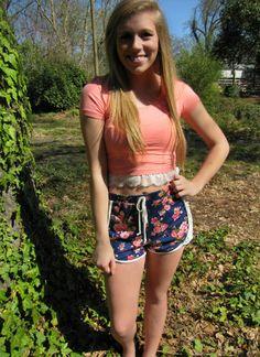 Floral Lace Jersey Shorts - BubbaJane's Boutique