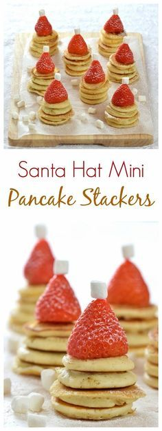 Easy Santa Hat Mini Pancake Stackers recipe - a fun and healthy Christmas breakfast idea for kids from Eats Amazing UK (Pancake Healthy Mornings) Christmas Buffet, Christmas Snacks, Christmas Brunch, Xmas Food, Christmas Cooking, Christmas Christmas, Christmas Pancakes, Christmas Ideas, Healthy Christmas Party Food