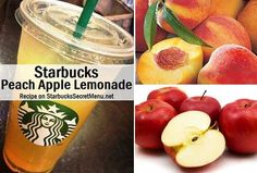 Take advantage of seasonal ingredients like peach syrup and enjoy this refreshing Peach Apple Lemonade!Lemonade to first lineApple juice to second lineAdd peach syrup pumps tall, 5 grande, 7 venti) Starbucks Strawberry Lemonade, Peach Lemonade, Peach Juice, Apple Juice, Vegan Starbucks, Starbucks Secret Menu Drinks, Starbucks Coffee, Peach Syrup, Grilling Gifts