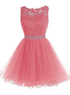 Tideclothes Short Beaded Prom Dress Tulle Applique Homecoming Dress Pink US10