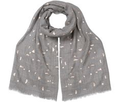 Soft and lightweight, the Ceres Foil Scarf lends a sophisticated edge to your outfit. On a grey base, this scarf is highlighted by a geometric, gold-toned foil print and finished with a frayed edge. Oliver Bonas, All Sale, Raincoat, Fashion Outfits, Jackets, Stuff To Buy, Clothes, Shopping, Delivery