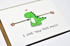 cute t rex cartoon | 10. Cute Valentine card - Dinosaur T-rex I love you this much | via ...