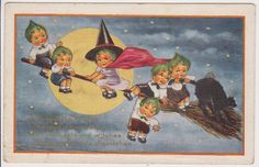 """OLD """"RARE"""" HALLOWEEN VINTAGE POSTCARD - YOUNG WITCH FLYING ON BROOM - BLACK CAT"""