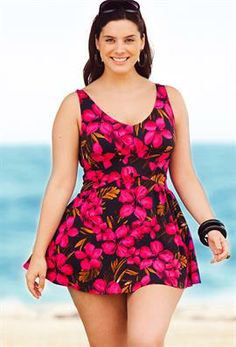 Oasis Plus Size V-Neck Swimdress | Plus Size Swimwear | OneStopPlus