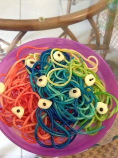 Monster pasta, made with food coloring and mozzarella cheese