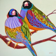 Contemporary painting of birds, Sing Me a Duet -- Carolee Clark