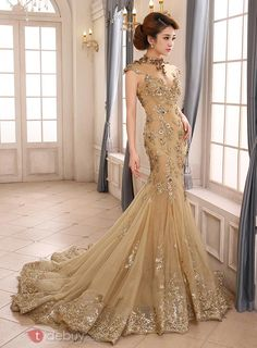 Vintage High Neck Mermaid Appliques Backless Lace-up Long Evening Dress