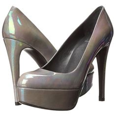 Pre-owned Stuart Weitzman Mae Lead Petrol Patent Leather Platform Heel... ($250) ❤ liked on Polyvore featuring shoes, pumps, grey, slip-on shoes, almond toe pumps, grey shoes, slip on shoes and patent platform pumps