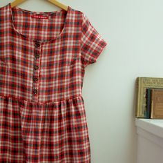 Red plaid linen day dress
