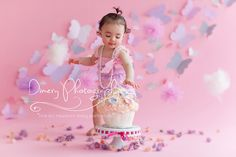 pink butterfly cake smash, tulle balls, floral cake smash, cupcake, pearls, girly cake smash, first birthday © Dimery Photography 2013