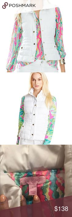 Lilly Pulitzer Isabelle Vest NWT Lilly Pulitzer Isabelle Vest in Resort White. NEW! Size Large. 90%Duvet fill. Also selling the same vest in Blue and Pink. Lilly Pulitzer Jackets & Coats Vests