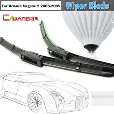 Cawanerl For 2006-2008 Renault Megane 2 Car Windscreen Soft Rubber Wiper Blades Windshield Bracketless 2Pcs #Affiliate