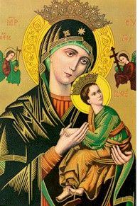 Icono oriental: esta virgen, patrona de los Padres Redentoristas, se llama Nuestra Señora del Perpetuo Socorro.