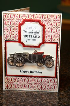 A birthday card made for my husband.  I used paper from The Paper Studio (the classics), Anna Griffin 'For the Boys' die cuts, and Close to My Heart 'Banner Wishes Occasions' sentiment stamp.