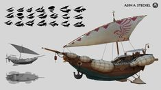 Asim Steckel is a concept designer and illustrator based in Hamburg, Germany. Asim is currently working as a concept artist in the video game and film industry. Flying Ship, Flying Boat, Machine Volante, Steampunk Ship, Steampunk Artwork, Art Transportation, Concept Art World, Treasure Planet, Spaceship Design