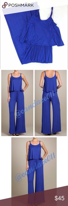 Blue Wide-Leg Jumpsuit 🔹Royal blue 🔹95% Rayon, 5% Spandex 🔹Size Recommendations: S (2-4) 🇺🇸Made in the USA🇺🇸 CC Boutique Pants Jumpsuits & Rompers