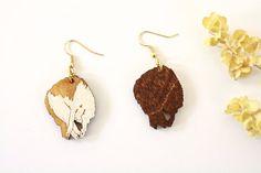 Sleepy Maine Coon Kitty Earrings Wooden by TinyWoodenCactus