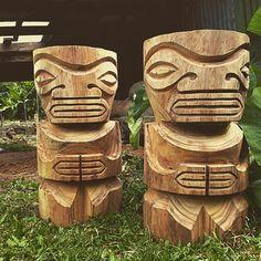 """Couple a #monkeypod barstools I'm carving on #commission. #marquesan #tikis…"