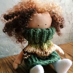 Doll Toy Doll handmade Doll tilda Doll in sweater by YourGattino Handmade Toys, Doll Toys, Unique Gifts, Wool, Trending Outfits, Hair Styles, Rag Dolls, Sweaters, Etsy