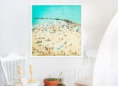 Large Beach Photography, Beach People Print, Coney Island, Living Room Art, Teal, Turquoise, Yellow - Coney Island Beach II